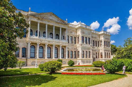 Scenic view from inside the Dolmabahce Palace in Istanbul Turkey