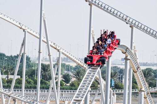 Formula Rossa is the fastest roller coaster in the world in Ferrari World amusement park at Yas Island in Abu Dhabi UAE
