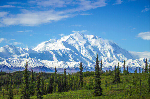 Early morning view of Mount Denali the tallest peak in continental North America in Alaska