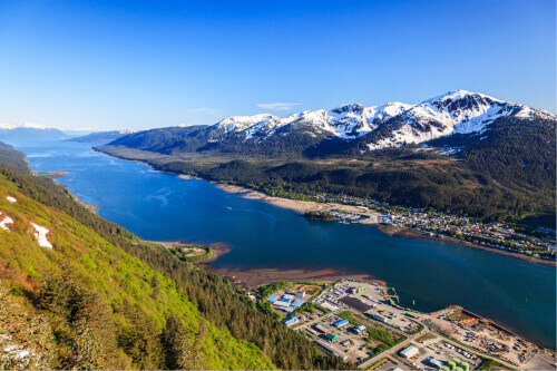 Aerial view of the Gastineau channel and Douglas Island in Juneau Alaska
