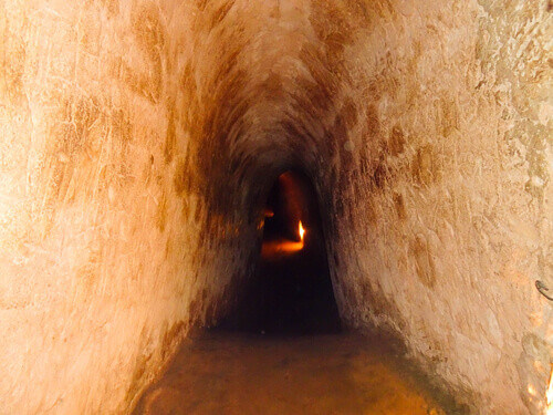 Famous and popular tourist attraction Cu Chi tunnels or Ben Dinh in Vietnam