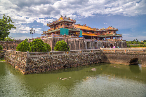 Hue imperial palace with Ngo Mon or Noon Gate in Hue Vietnam