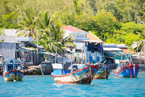 A fishing village on the island of Hon Mieu in Nha Trang Vietnam