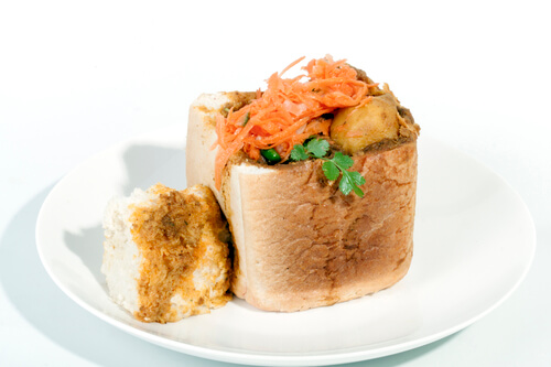 Mutton bunny chow, a South African favourite