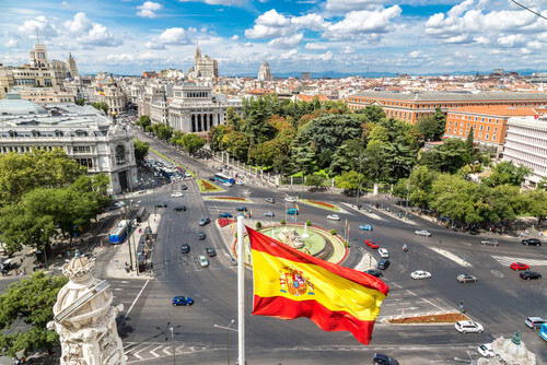aerial view of cibeles fountain spain