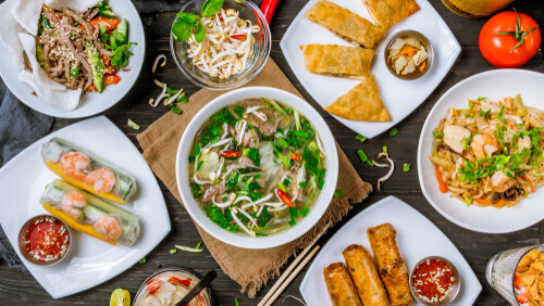 Mix of Vietnamese food