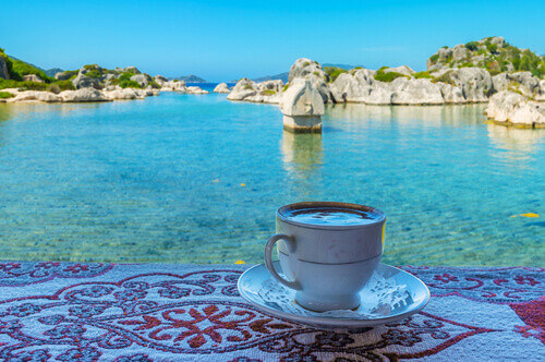 cup of turkish coffee on gulet boat turquoise coast turkey