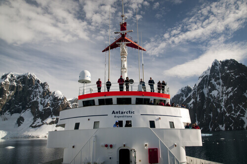 People watching from stern of ship Antarctica