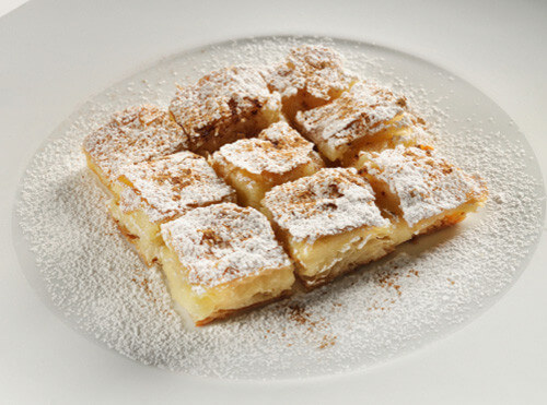 bougatsa cut into squares greece