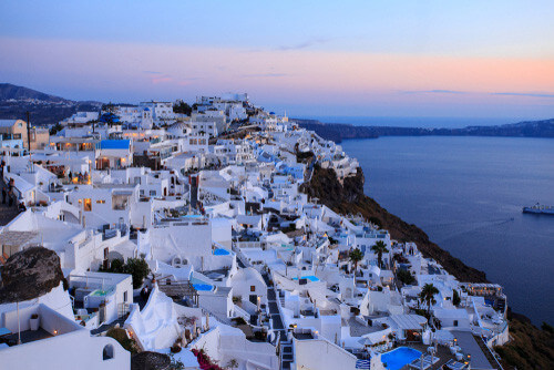 santorini caldera at sunset greece