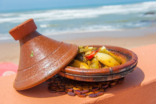 Tagine in front of ocean