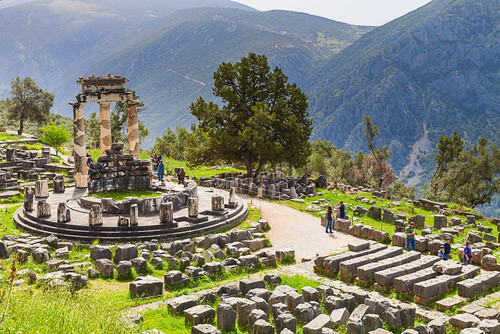 Sanctuary of athena ruins delphi greece