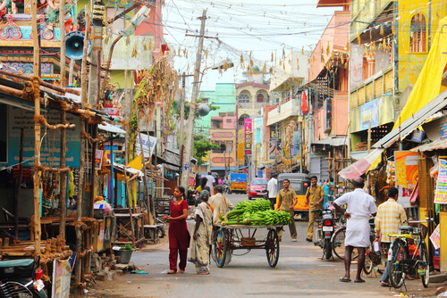Colourful street in India