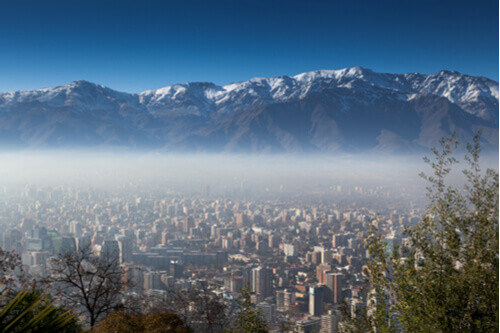 Smog over Santiago chile with andes in background
