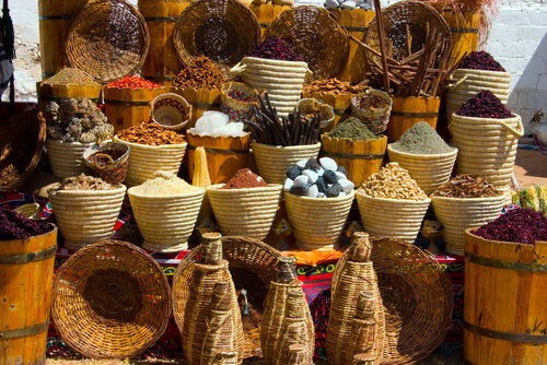 Baskets of spices at market in egypt