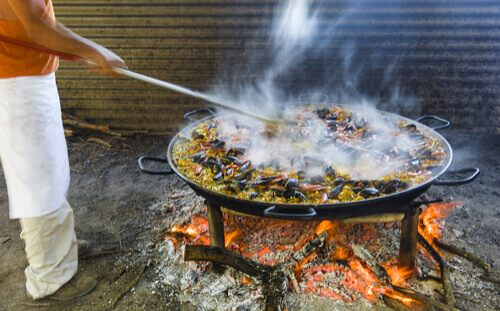 Large tray of Paella Spain