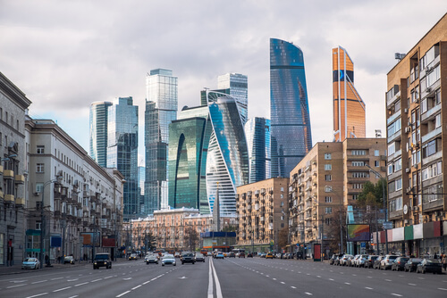 Street in Moscow with old and modern buildings