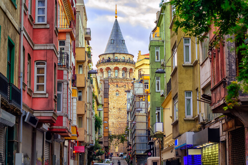 Istanbul colourful buildings and galata tower