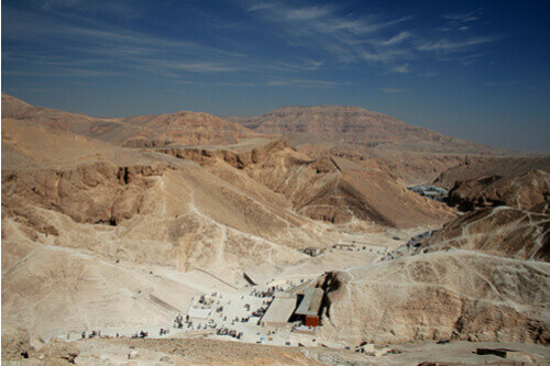 Valley of the kings with people egypt