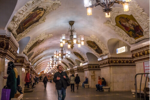 Moscow metro station with people Russia