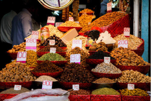 array of spices market chandni chowk delhi india