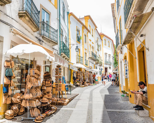 Evora town with people Portugal