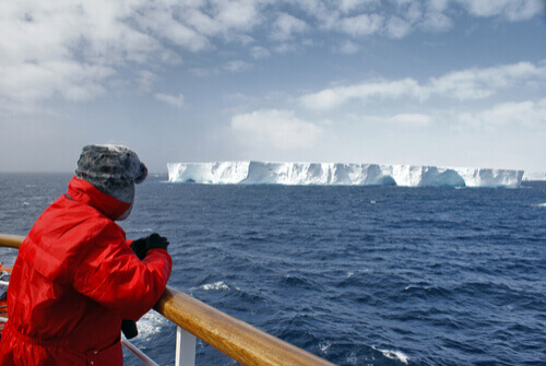 Person looking out to sea antarctica