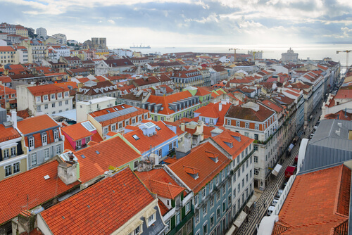 Aerial view of Pombaline Baixa Lisbon Portugal
